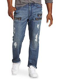 Destructed and Zippered Jeans