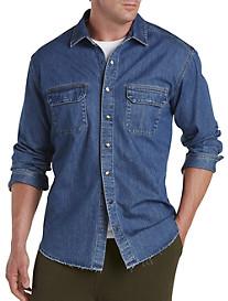 Denim Shirt with Raw Edges