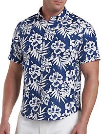 Nautica Floral-Print Linen-Blend Sport Shirt