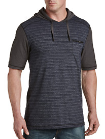 PX Clothing Contrast-Sleeve Henley Hoodie