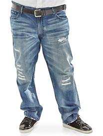 MVP Collections Medium Destruct Wash Straight Jeans