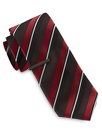 Gold Series Wide Triple Stripe Tie with Tie Bar