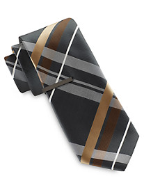 Gold Series Large Scale Plaid Tie with Tie Bar