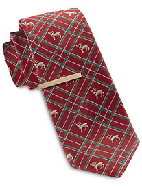 Gold Series Reindeer Plaid Holiday Tie with Tie Bar