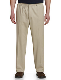 Harbor Bay® Elastic-Waist Twill Pants-Hemmed