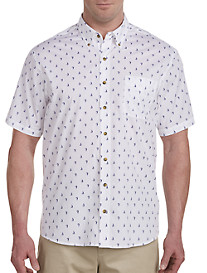 Harbor Bay Easy-Care Sailboat Print Sport Shirt