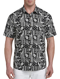 Harbor Bay Tropical Batik Print Sport Shirt