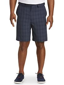Oak Hill Flat-Front Waist-Relaxer Plaid Microfiber Shorts