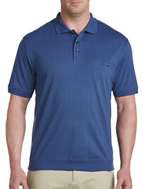 Harbor Bay Banded Bottom Square-Patterned Polo Shirt