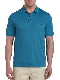 Harbor Bay® Non-Solid Diamond Pattern Banded-Bottom Polo-New and Improved Fit