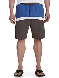True Nation Curved Colorblock Swim Trunks