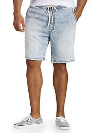 Acid Wash Denim Knit Jogger Shorts