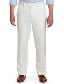 Oak Hill® Flat-Front Linen-Blend Suit Pants