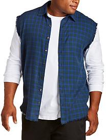 Destructed Sleeveless Flannel Shirt