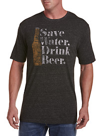 Retro Brand Save Water Drink Beer Graphic Tee