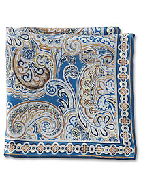 Rochester Large Bordered Paisley Silk Pocket Square
