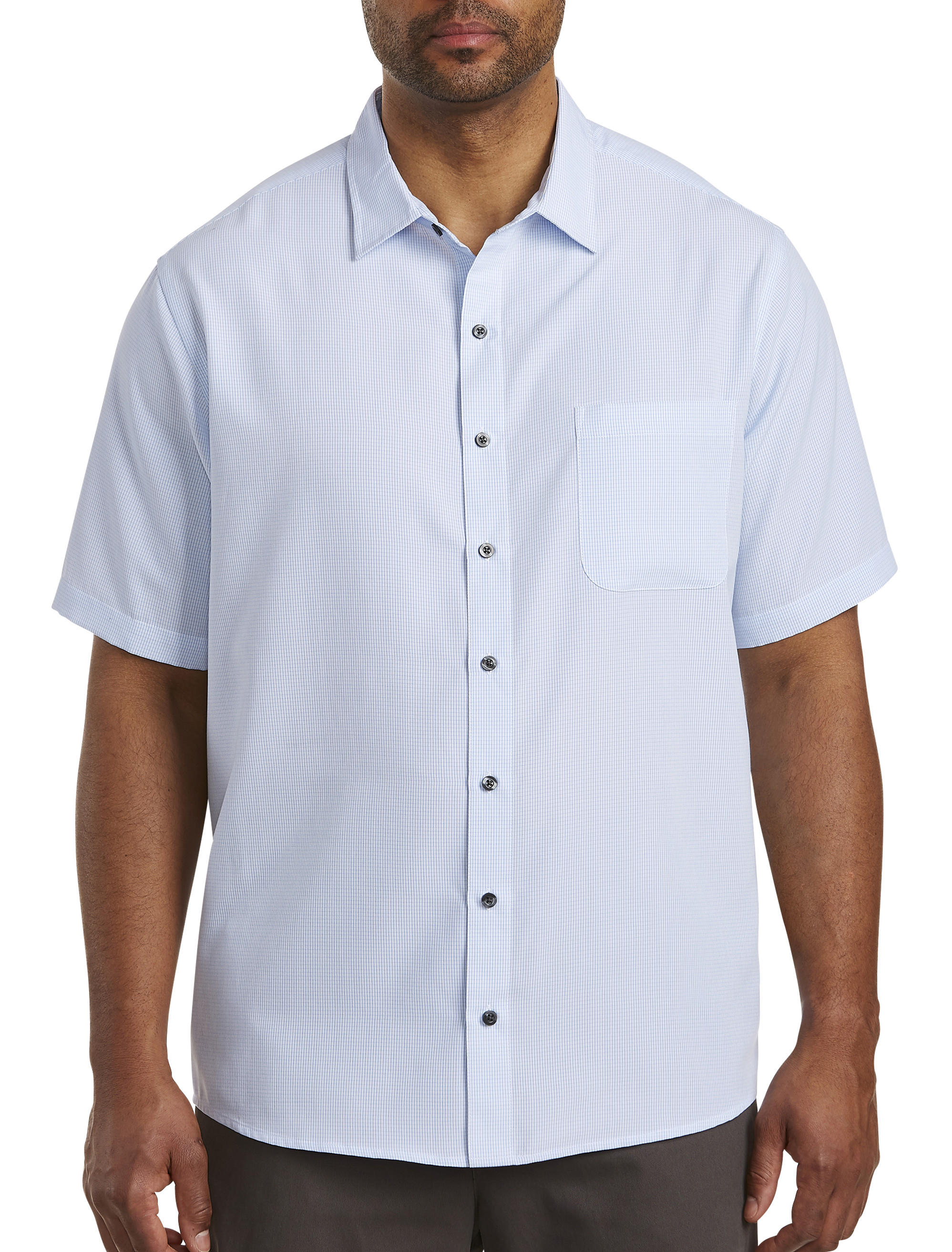 Harbor Bay Microfiber Grid-Pattern Sport Shirt | Tuggl