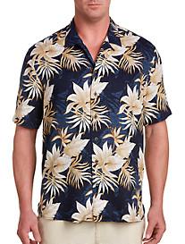 Island Passport® Floral and Leaf Print Camp Shirt