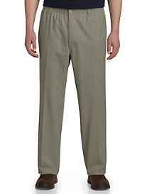 Harbor Bay® Elastic-Waist Twill Pants - Updated Fit, Hemmed