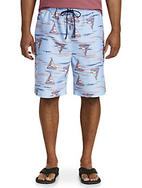 Island Passport Sailboats & Sharks Swim Trunks