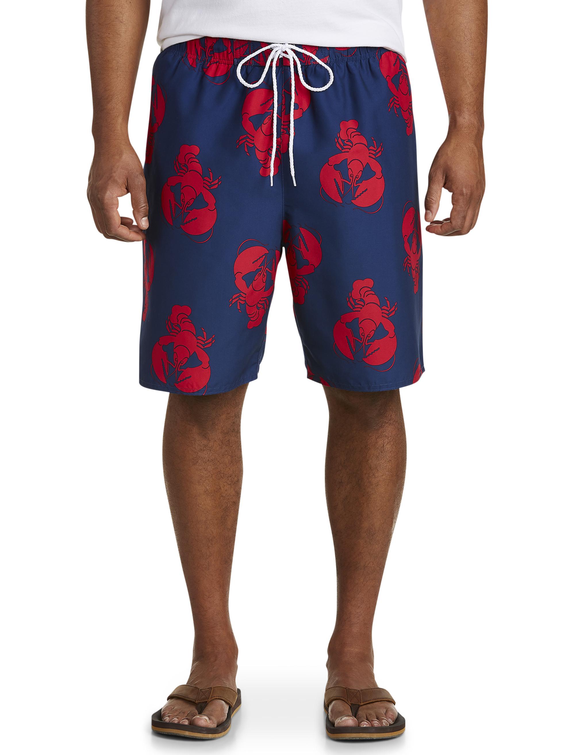 26330757038 Island Passport Lobster-Print Swim Trunks