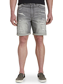 Society of One Athletic-Fit Ripped Denim Shorts