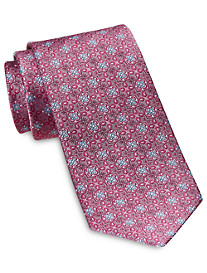 Rochester Designed in Italy Small Repeating Floral Medallion Silk Tie