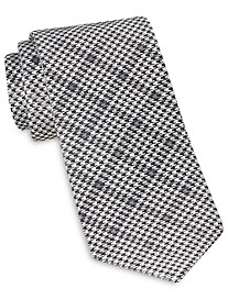 Rochester Designed in Italy Tonal Houndstooth Windowpane Plaid Silk Tie
