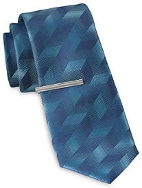 Gold Series Zig-Zag Geometric Pattern Tie with Tie Bar