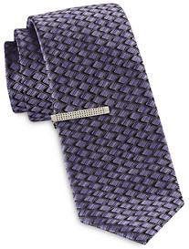 Gold Series Diamond Geometric Pattern Tie and Tie Bar
