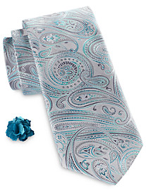 Synrgy™ Multi Tonal Paisley Tie and Lapel Pin Combination