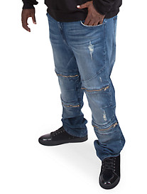 MVP Collections Zippered Moto Jeans