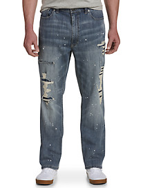True Nation Athletic-Fit Ripped Stretch Jeans