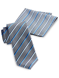 Synrgy Bright Pop Stripe Tie with Pocket Square