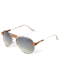 True Nation® Faux-Leather Aviator Sunglasses