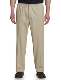 Harbor Bay Elastic-Waist Twill Pants - Unhemmed