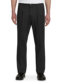 Harbor Bay Waist-Relaxer Pleated Twill Pants - Unhemmed