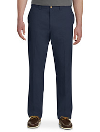 Harbor Bay Waist-Relaxer Flat-Front Twill Pants-Unhemmed
