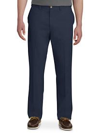 Harbor Bay Waist-Relaxer Flat-Front Twill Pants-Unhemmed