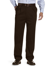 Oak Hill® Waist-Relaxer® Pleated Premium Pants-Unhemmed