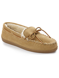 Minnetonka Pile-Lined Suede Moccasin Slippers