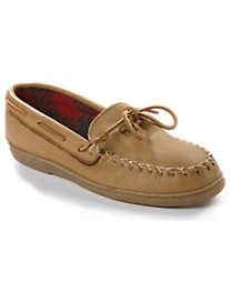 Minnetonka Fleece-Lined Moosehide Moccasin Slippers