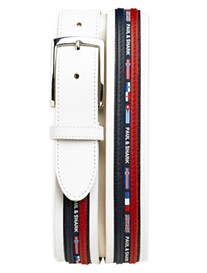 P&S White Ribboned Lthr Belt