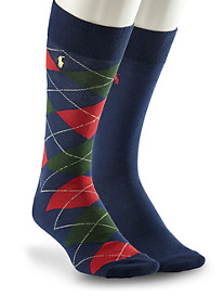 Polo Ralph Lauren® 2-pk Argyle/Solid Socks