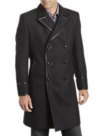 Tallia Orange Leather-Trim Donegal Tweed Coat