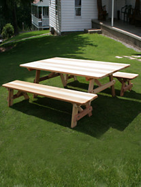 Creekvine Designs™ Cedar Table with Extra-Wide Benches
