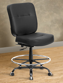 Hercules Extra-Wide Leather-Look Drafting Chair – Square Back