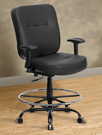 Hercules Extra-Wide Leather-Look Drafting Chair with Arms – Square Back