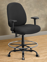 Hercules Extra-Wide Fabric Drafting Chair with Arms – Rounded Back