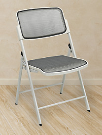 Office Star® Deluxe ProGrid® Mesh Folding Chair – Beige/Beige (2 Pack)